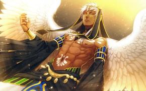 Picture guy, torso, art, visual novel, white wings, Kamigami no Asobi, Yone Kazuki, Thoth Caduceus