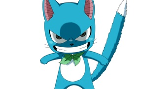 Picture blue, white background, evil, kitty, bow, Happy, Fairy Tail, Tale of fairy tail