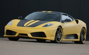 Wallpaper Yellow, Ferrari, F430 Scuderia 747 Edition, Machine, Road