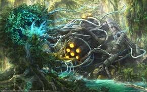 Wallpaper Forest, ship, figure, Ognian Bonev, World Collide, engine