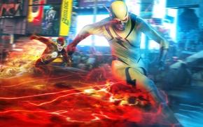 Picture the city, fiction, art, superhero, Flash, supervillain, Barry Allen, Reverse-Flash, Eobard Thawne