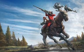 Wallpaper nature, weapons, people, art, rifle, guns, moose