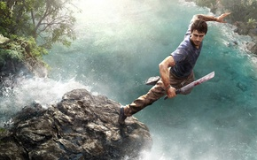 Wallpaper water, jump, blood, stone, waterfall, warrior, tattoo, jungle, Ubisoft, machete, Far Cry 3, the protagonist, ...