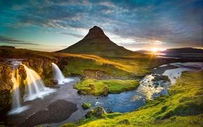 Picture the sun, river, mountain, waterfall, morning, Iceland, Grundarfjordur, Kirkjufel