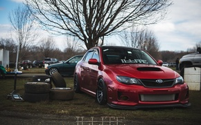 Picture turbo, red, wheels, subaru, japan, wrx, impreza, jdm, tuning, power, front, sti, face, low, stance