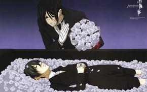 Picture roses, white, the coffin, art, grief, Kuroshitsuji, Sebastian Michaelis, Ciel Phantomhive, the devil's Butler, Since …
