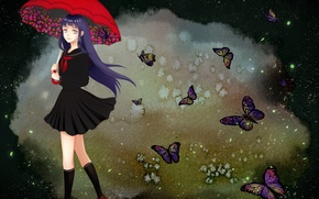 Picture girl, butterfly, naruto, art, hinata hyuuga