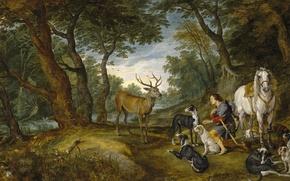 Picture forest, dogs, horse, picture, deer, mythology, Jan Brueghel the elder, The Vision Of St. Hubert