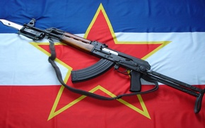 Wallpaper weapons, star, flag, machine, bayonet, Yugoslavia