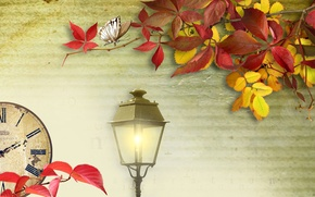 Picture autumn, leaves, light, collage, watch, lantern
