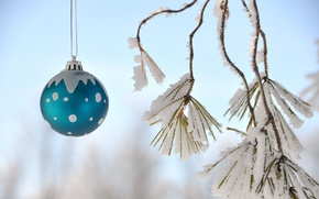 Picture the sky, snow, new year, Christmas, ball, decoration