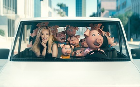 Wallpaper cinema, film, Rosita, car, Sing, Reese Witherspoon, blonde, city, movie, animayed film, pig