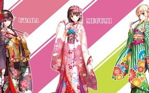 Picture waves, yukata, flower, pink hair, green eyes, umbrella, anime, blue eyes, beautiful, purple eyes, pretty, …