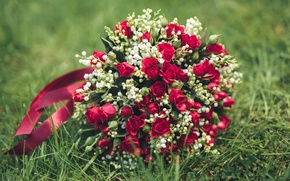 Picture roses, bouquet, lilies of the valley