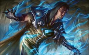 Picture flame, armor, hood, male, blue, the wizard, Magic The Gathering, Eric Deschamps, Venser, Shaper Savant
