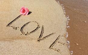 Wallpaper sand, love, beach, love, beach, romantic, sand