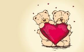 Wallpaper pair, bear, valentines day, heart, Teddy, teddy bear