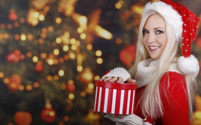 Picture girl, smile, gift, tree, New Year, Christmas, blonde, red, cap, blue-eyed, sweater
