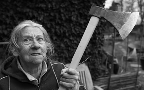 Picture axe, woman, angry, grandmother