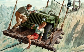 Picture girl, chase, male, crossing, Jeep, Willys MB, Mort Künstler