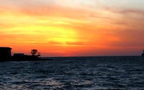 Picture sea, the sun, sunset, horizon, black, Sevastopol