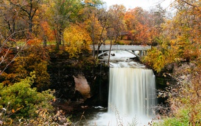 Picture United States, river, bridge, autumn, leaves, waterfall, autumn colors, Minnesota, fall, foliage, benches, fall colors, …