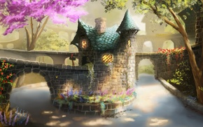Picture light, trees, river, Bridge, pipe, house, arch, flowering, stone, tile