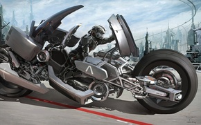 Picture the city, future, transport, robot, art, motorcycle, Mark Yang