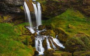 Picture waterfall, moss, Iceland, Iceland, Grundarfjordur, Grundarfjordur