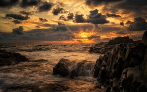 Picture sea, the sky, clouds, landscape, sunset, nature