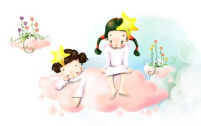 Wallpaper flowers, children, figure, stars, barefoot, cloud, braids