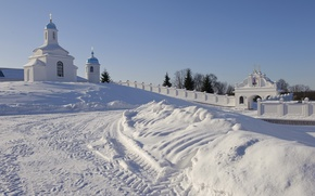 Picture winter, mood, the monastery