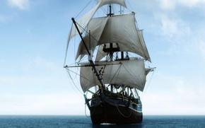 Picture sea, ship, sails, big sailing ship