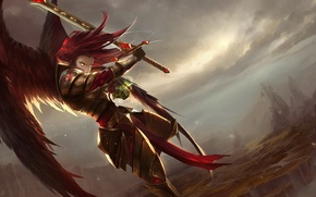 Picture wings, sword, art, guy, in the sky, league of legends, kayle, cabalfan