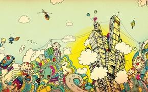 Wallpaper clouds, the city, paint, art, Apostolescu, Matei