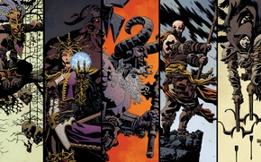 Picture art, Diablo 3, demon hunter, monk, mage, barbarian, witch doctor