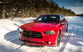 Picture road, snow, Dodge, car, Charger, Sport, AWD