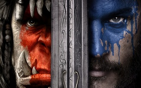 Wallpaper Action, Red, Fantasy, Warcraft, Blizzard, Orc, Blue, Legendary Pictures, Wolf, Eyes, Year, EXCLUSIVE, Activision, Knight, ...