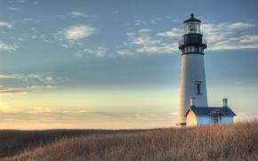 Wallpaper lighthouse, the sky, sunrise, field