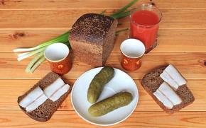 Picture glass, bow, bread, still life, tomato, cucumbers, fat