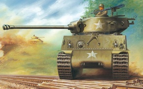 Picture figure, tank, Sherman, American medium tank