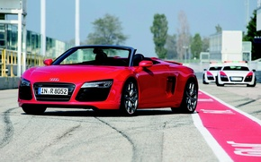 Wallpaper Convertible, The hood, Day, Machine, Spyder, Red, Audi R8 V10
