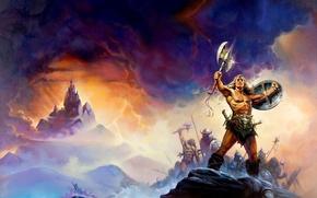 Picture background, war, axe, shield, barbarian, Conan