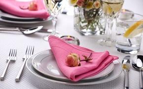 Wallpaper flower, table, rose, candle, glasses, plates, glasses, knives, napkin, fork, serving, Cutlery