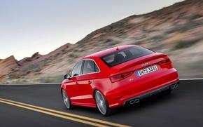 Picture Audi, Red, Auto, Road, Strip, Machine, Sedan