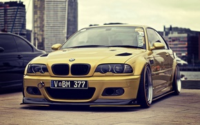 Picture BMW, Tuning, BMW, E46, stance, Gold