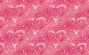 Picture water, drops, background, holiday, heart, figure, texture, Valentine, gently, Valentine's Day