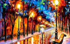 Picture road, bench, oil, picture, umbrella, lights