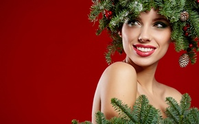 Picture branches, red, face, smile, background, holiday, new year, Christmas, makeup, outfit, beauty, bumps, coniferous, closeup
