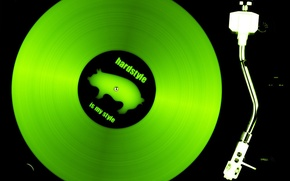 Wallpaper record, green, music, club, hardstyle
